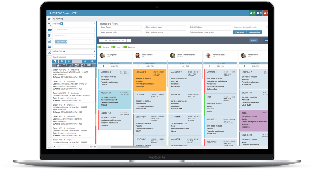 FMP360 Planning and Dispatch – Agenda view
